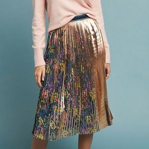Maeve by Anthropologie Metallic Floral Skirt
